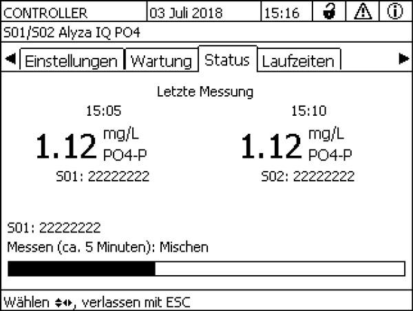 Status-Anzeige des Alyza IQ PO4